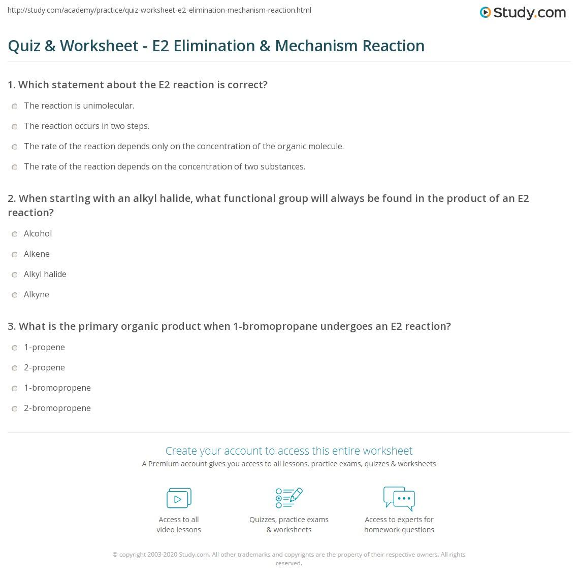 Quiz & Worksheet - E2 Elimination & Mechanism Reaction | Study com