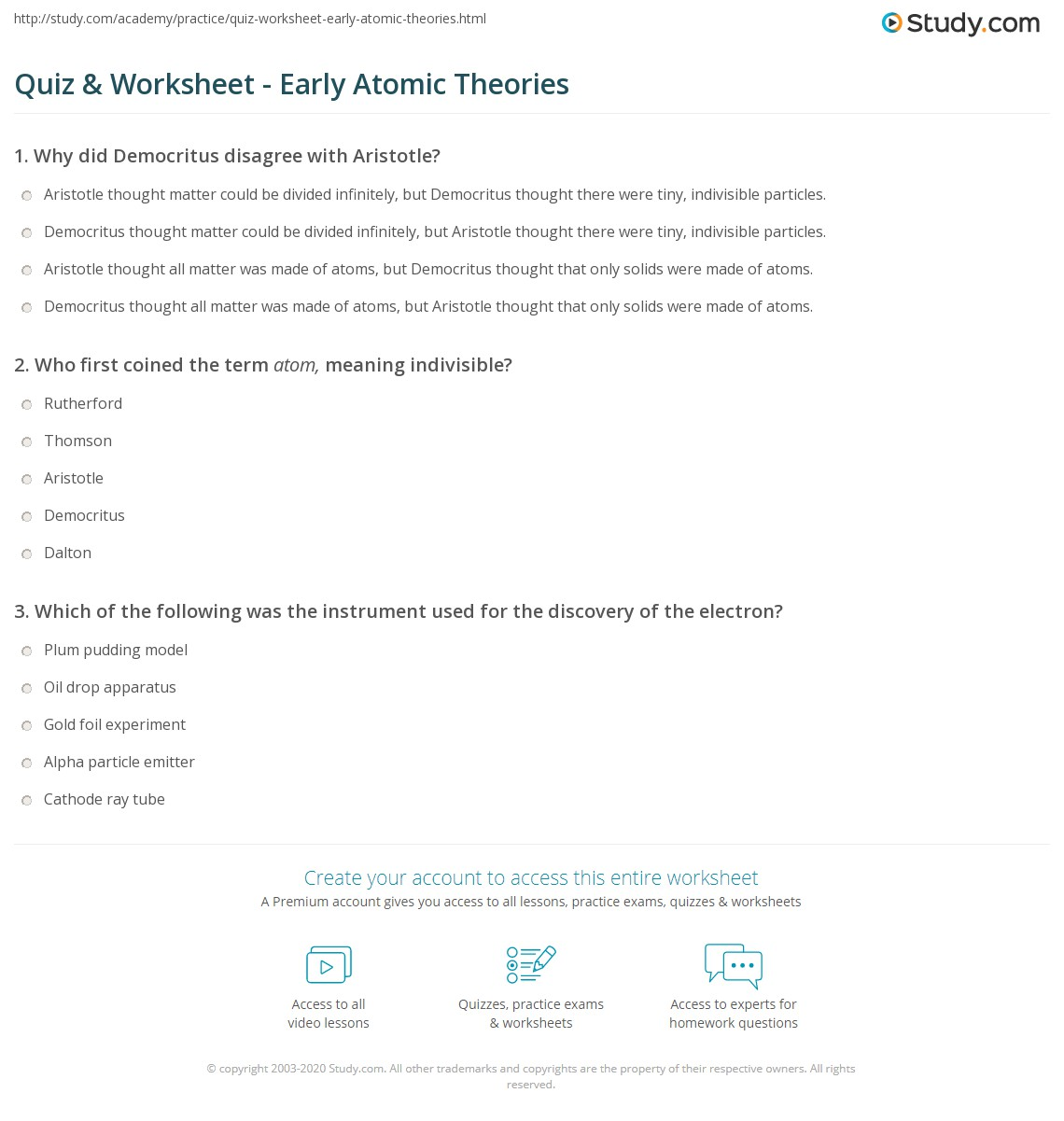 Quiz Worksheet Early Atomic Theories Study Com