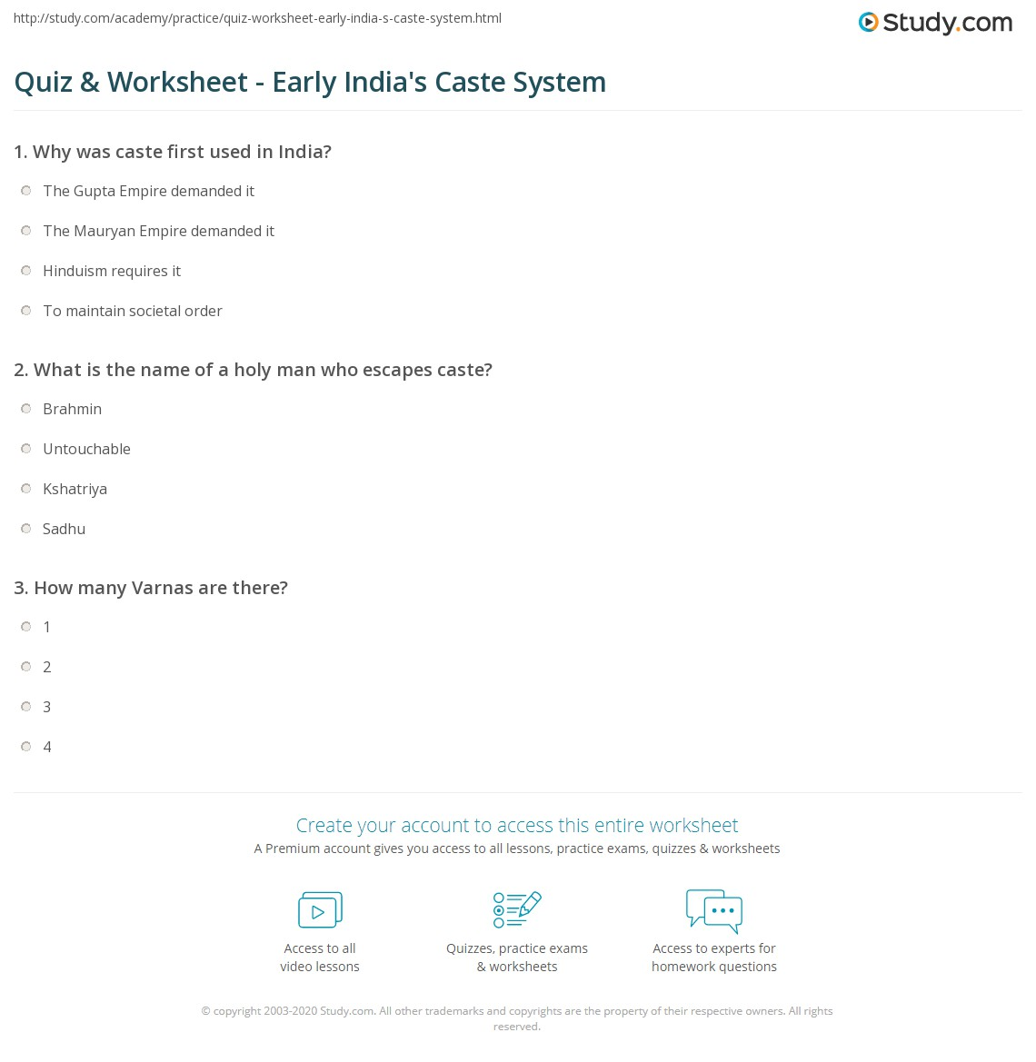quiz worksheet early india 39 s caste system. Black Bedroom Furniture Sets. Home Design Ideas