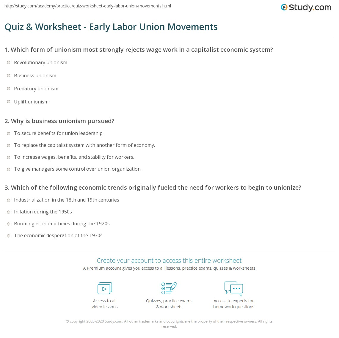 quiz worksheet early labor union movements. Black Bedroom Furniture Sets. Home Design Ideas