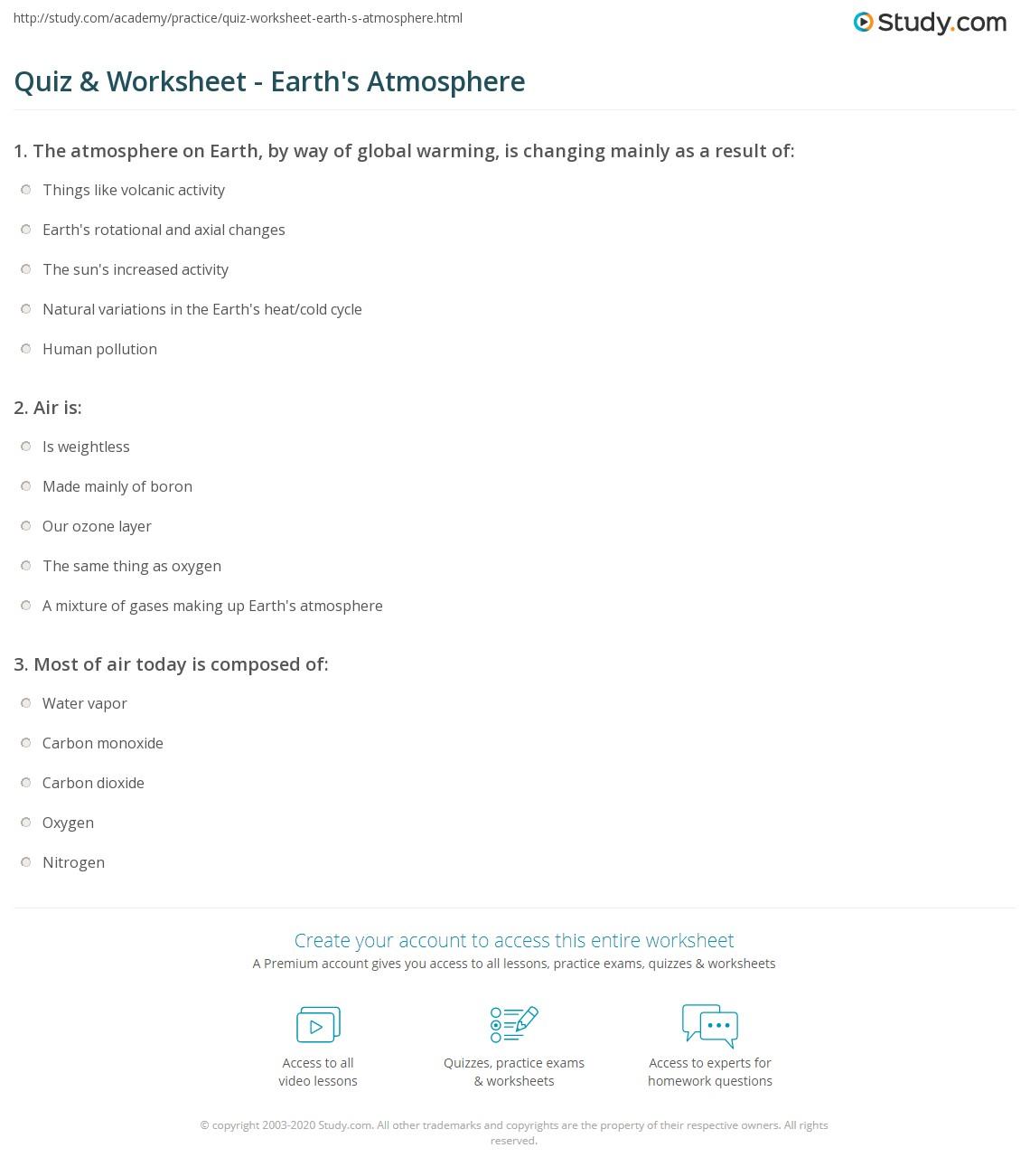 Quiz & Worksheet - Earth's Atmosphere | Study.com