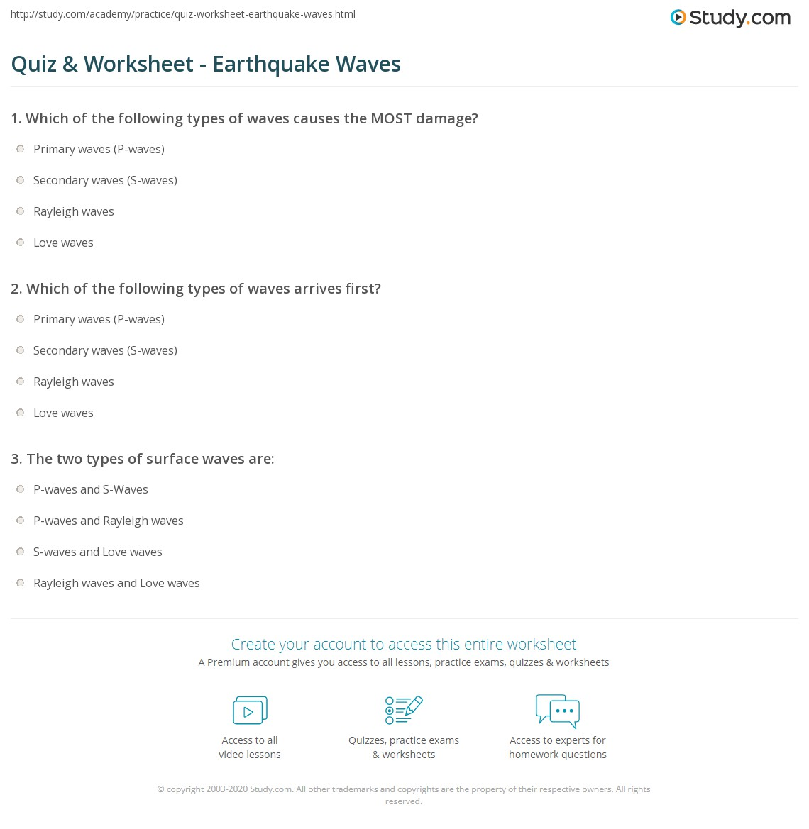 Worksheets Earthquakes And Seismic Waves Worksheet quiz worksheet earthquake waves study com print types concept worksheet