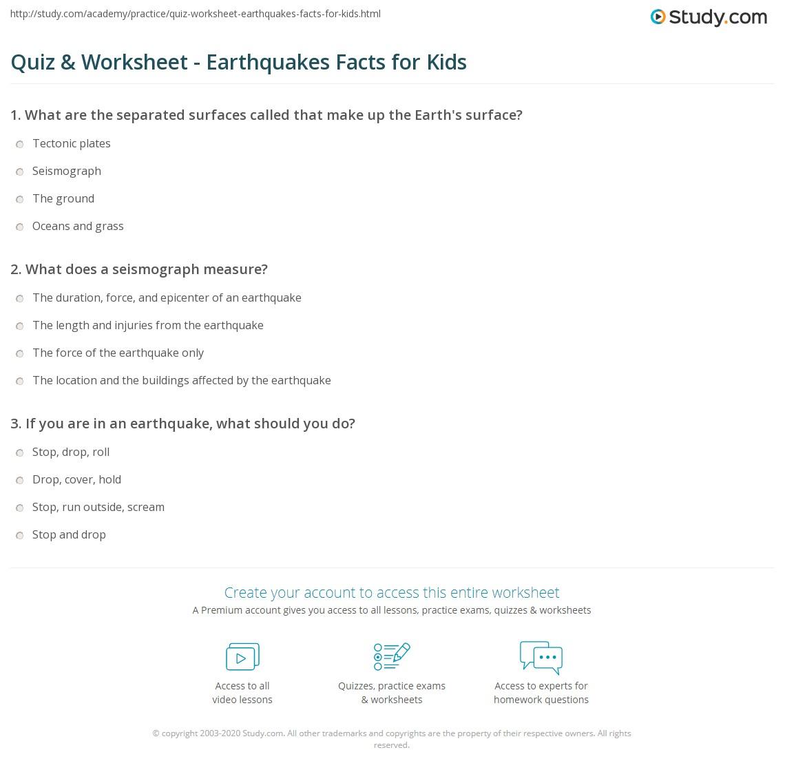 Worksheets Earthquakes For Kids Worksheets quiz worksheet earthquakes facts for kids study com print lesson worksheet
