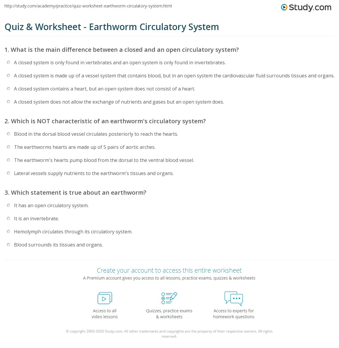 Quiz worksheet earthworm circulatory system study print do earthworms have a closed or open circulatory system worksheet ccuart Images
