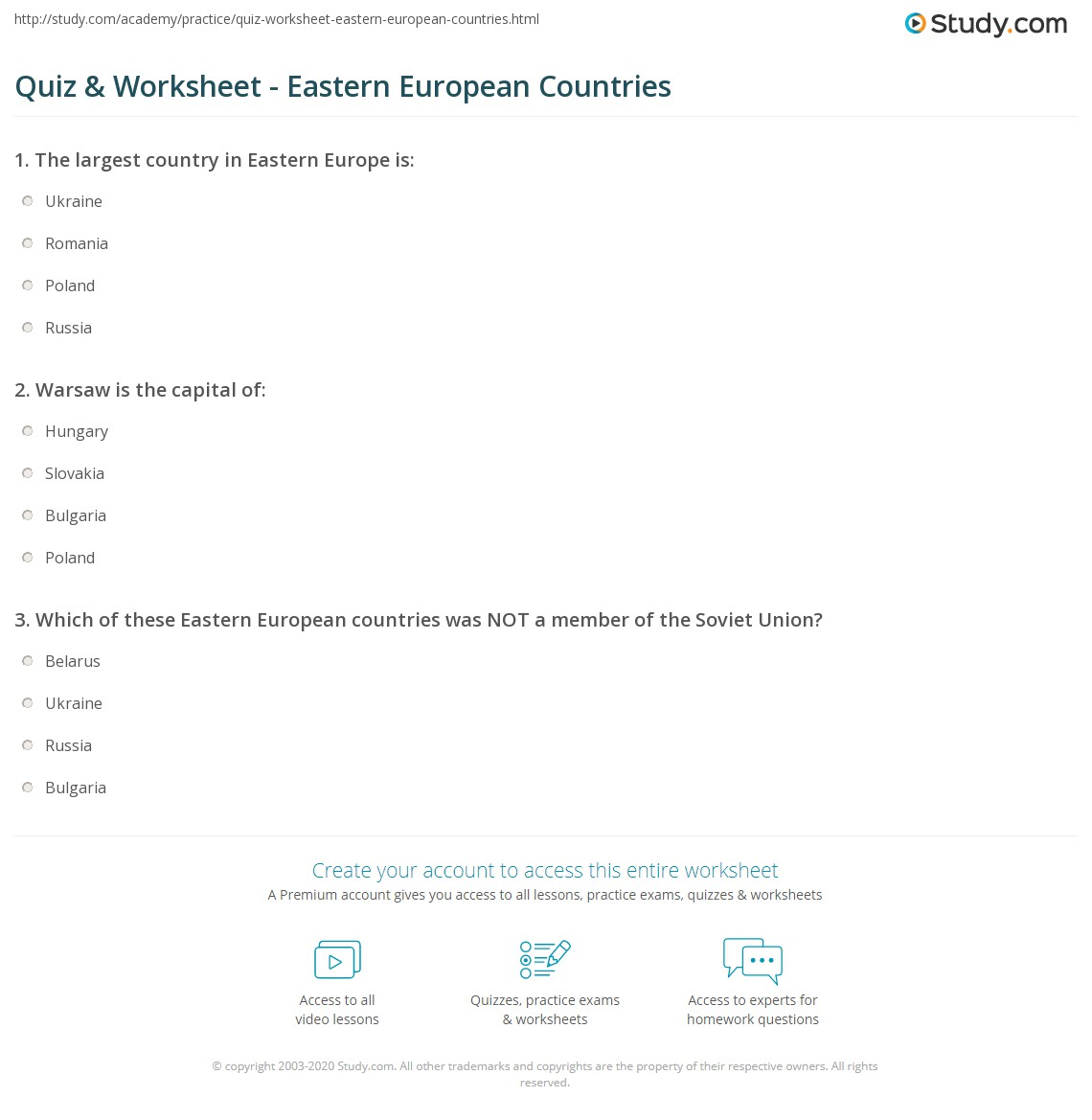 Quiz & Worksheet - Eastern European Countries | Study.com