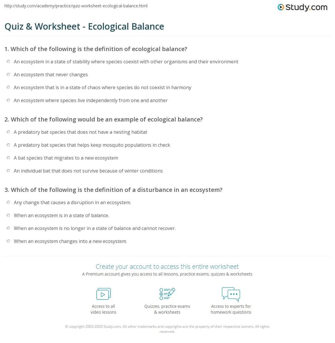 Quiz Worksheet Ecological Balance Study
