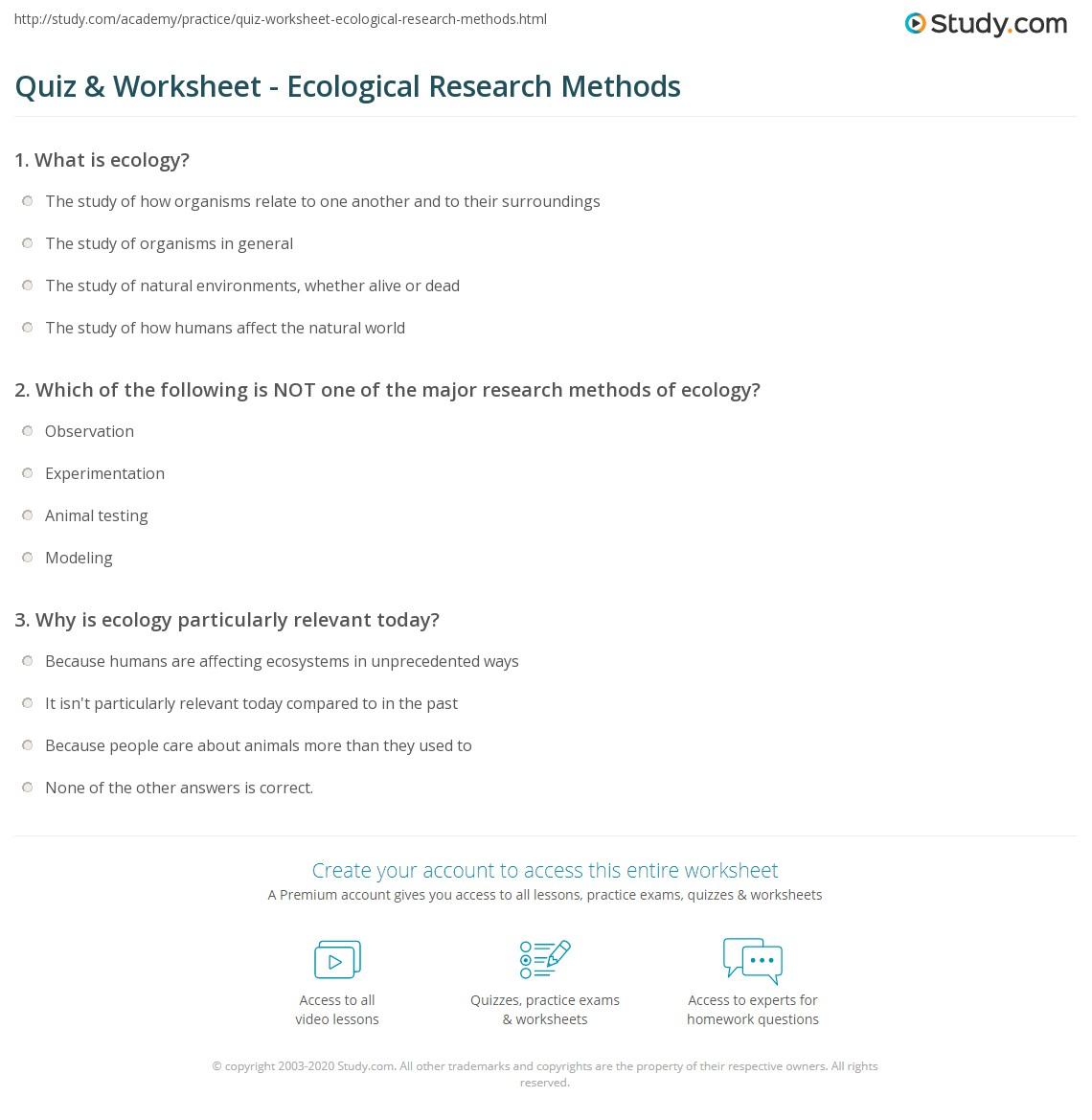 Worksheets Principles Of Ecology Worksheet Answers quiz worksheet ecological research methods study com print observation modeling experimentation worksheet