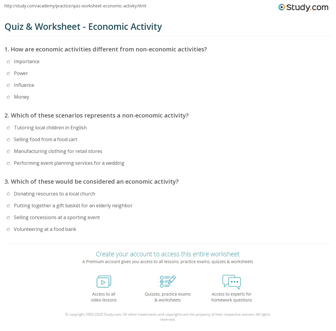 Quiz Worksheet Economic Activity Study