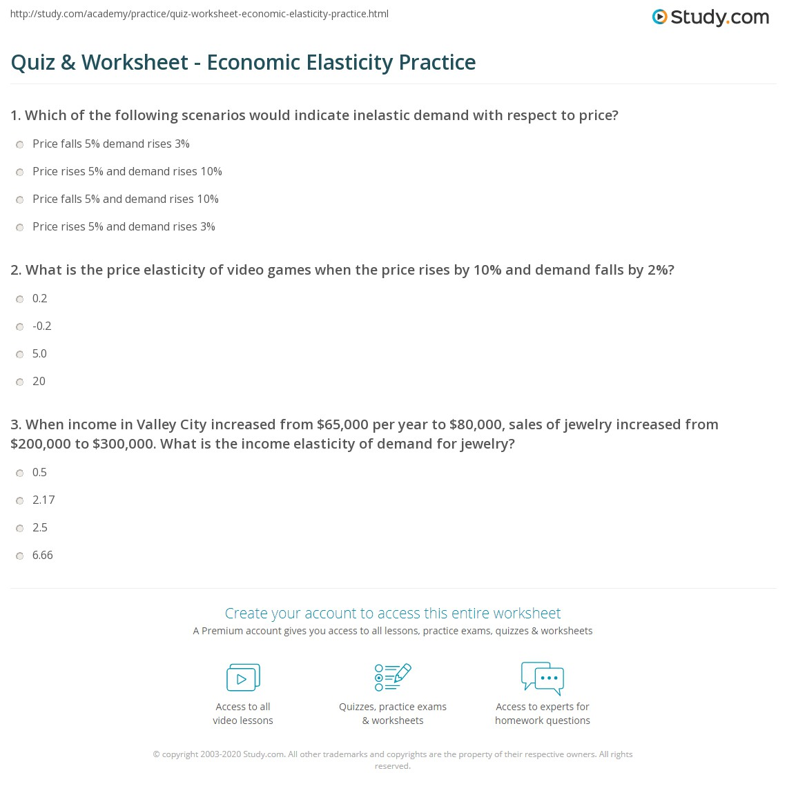 Quiz Worksheet Economic Elasticity Practice Study Com