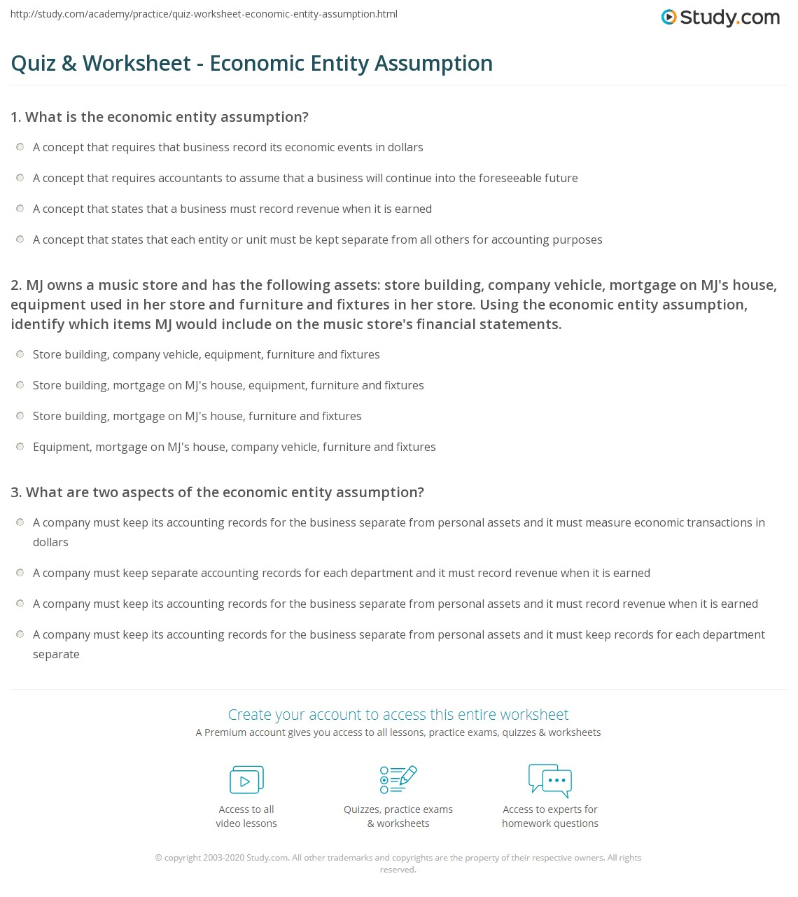 Quiz & Worksheet - Economic Entity Assumption