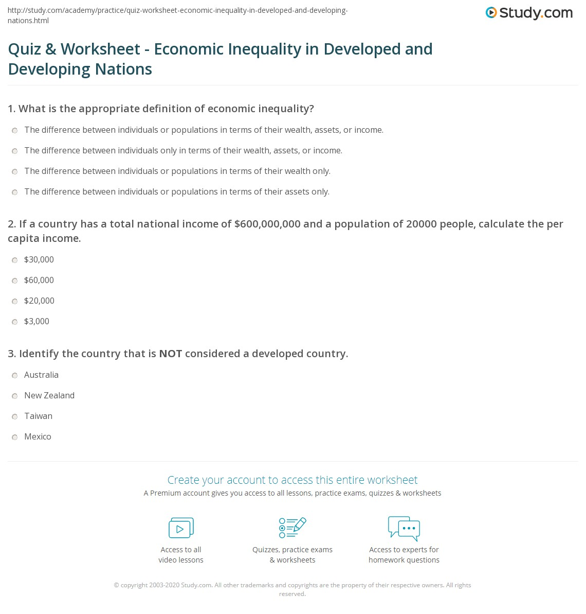 quiz worksheet economic inequality in developed and developing nations. Black Bedroom Furniture Sets. Home Design Ideas