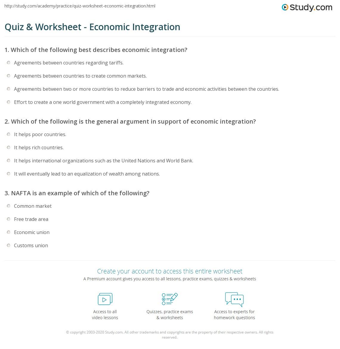 quiz worksheet economic integration. Black Bedroom Furniture Sets. Home Design Ideas
