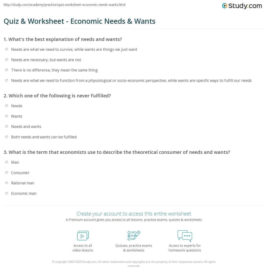 Quiz Worksheet Economic Needs Wants – Economics Worksheets for High School