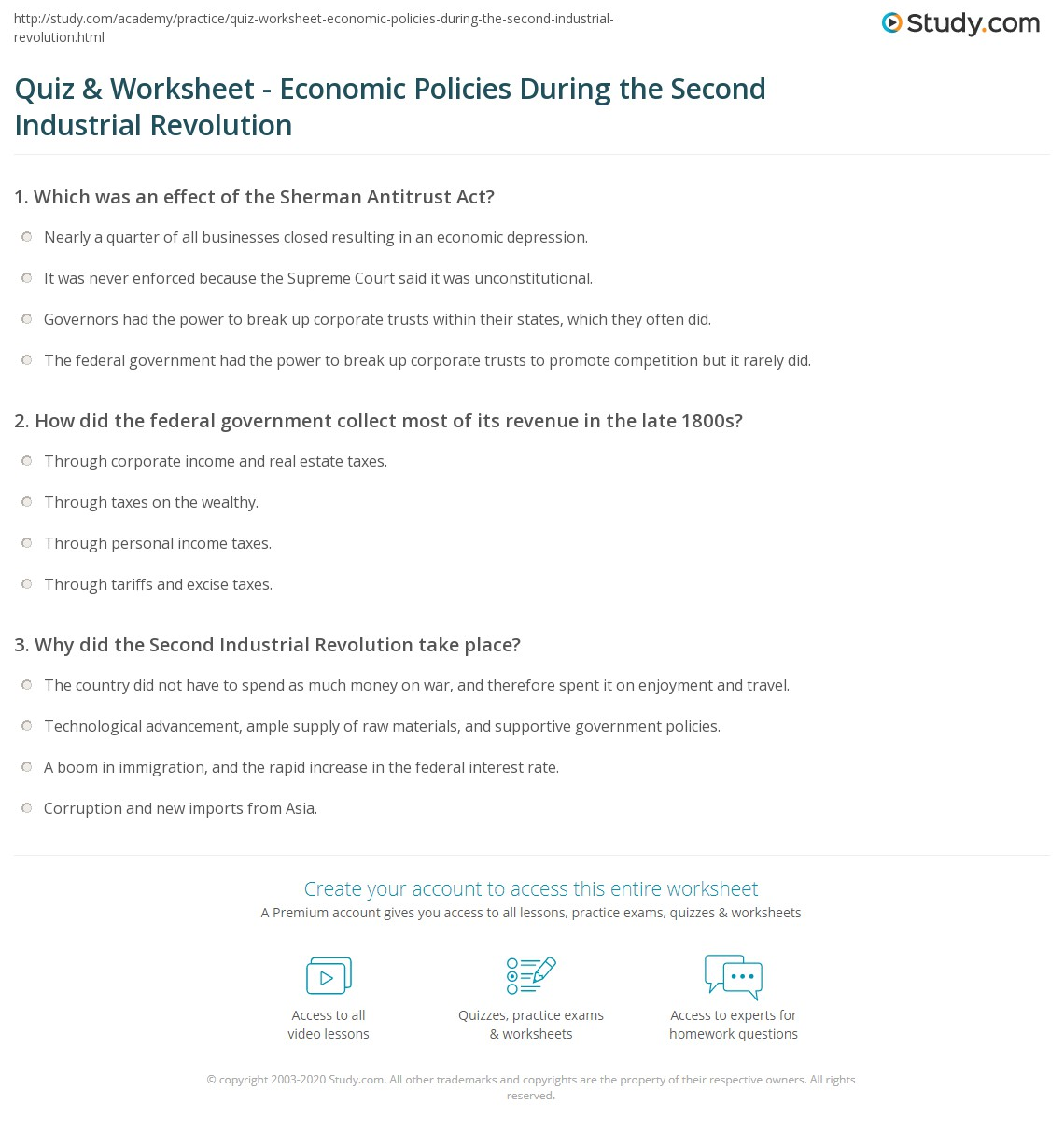 quiz worksheet economic policies during the second industrial revolution. Black Bedroom Furniture Sets. Home Design Ideas