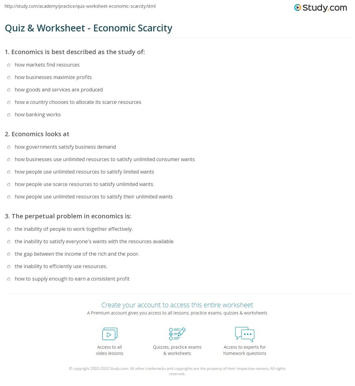 {Quiz Worksheet Economic Scarcity – Economic Worksheets