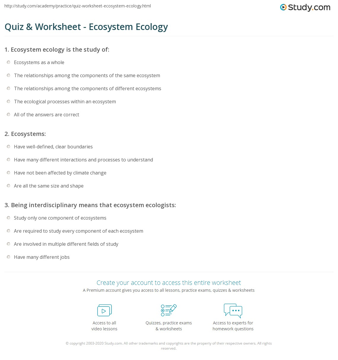 worksheet Ecosystems Worksheet quiz worksheet ecosystem ecology study com print definition explanation worksheet
