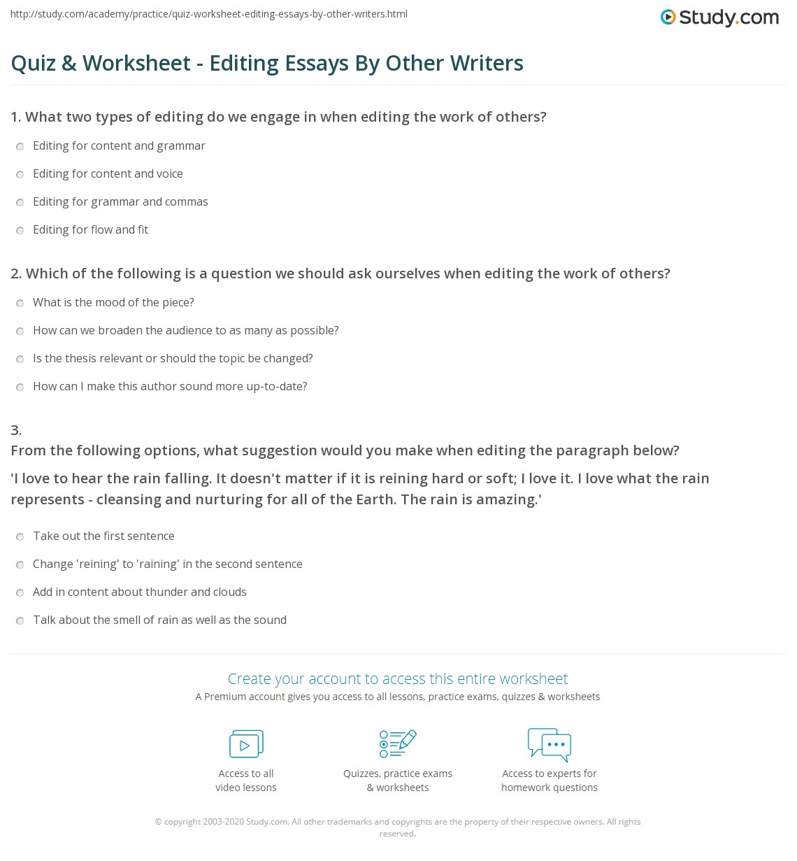 Quiz & Worksheet - Editing Essays By Other Writers | Study.com