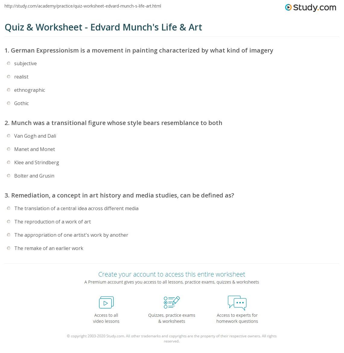 Quiz & Worksheet - Edvard Munch's Life & Art | Study com