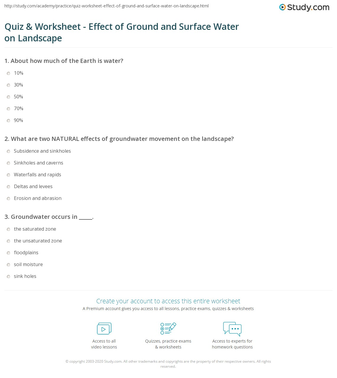 Quiz Worksheet Effect of Ground and Surface Water on Landscape – Water Worksheet