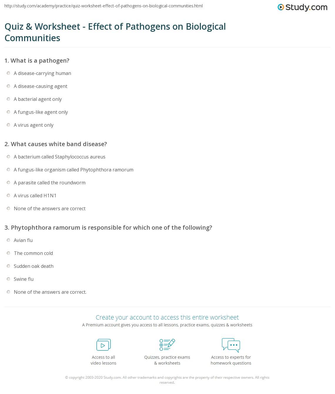 quiz & worksheet - effect of pathogens on biological communities, Human Body