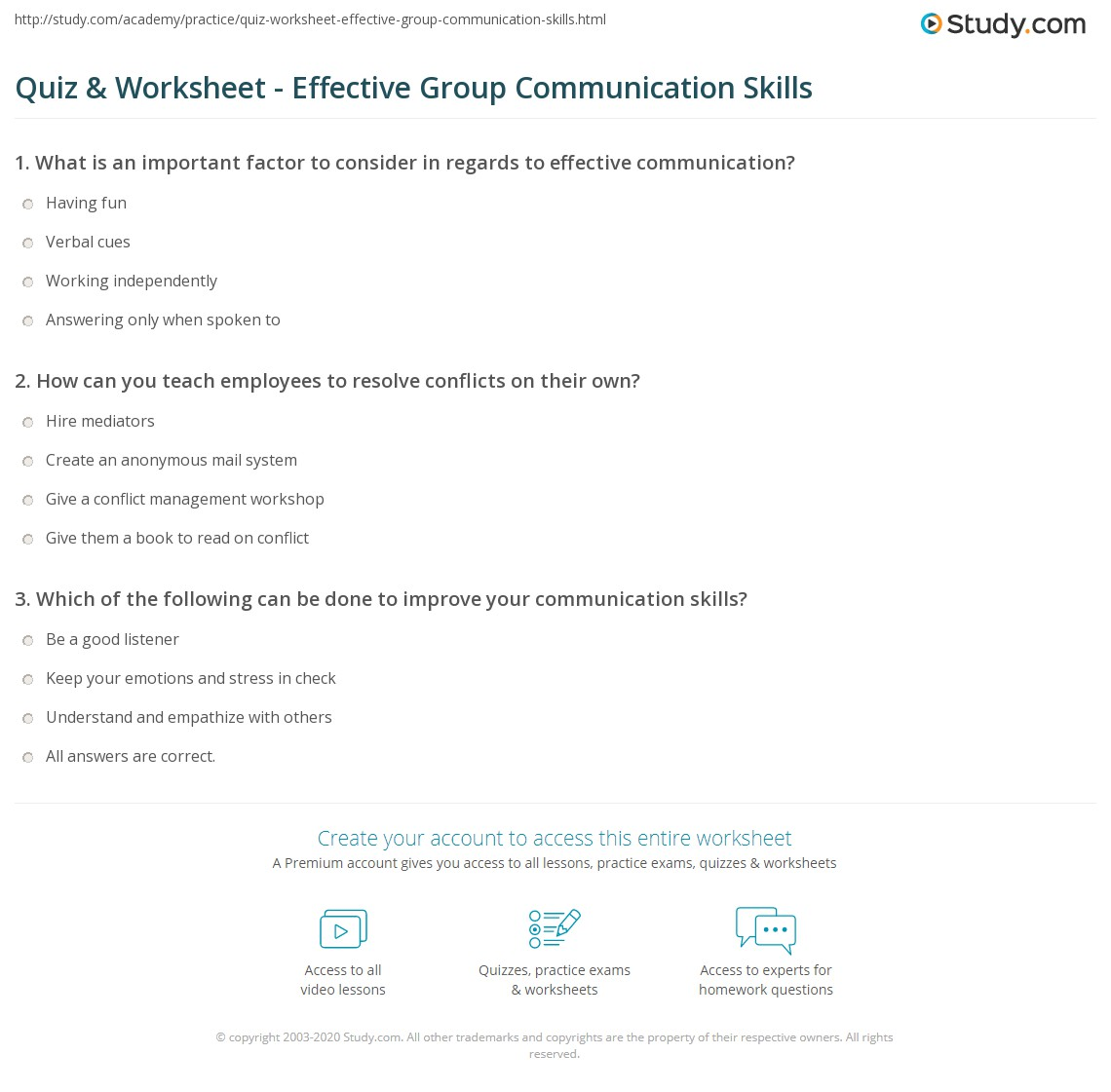 Quiz & Worksheet Effective Group munication Skills