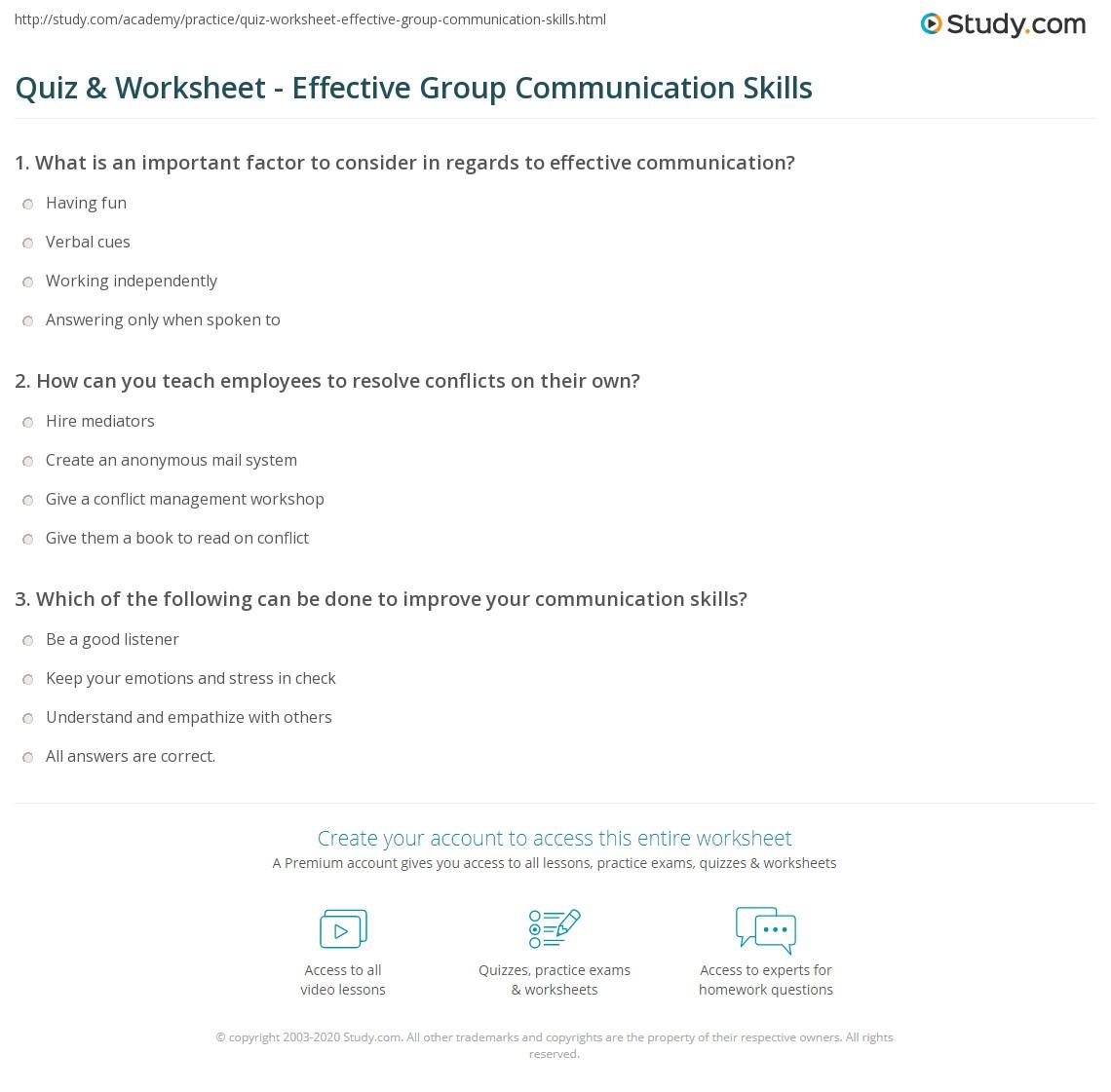 Free Worksheet Communication Skills Worksheets quiz worksheet effective group communication skills study com print activities for worksheet