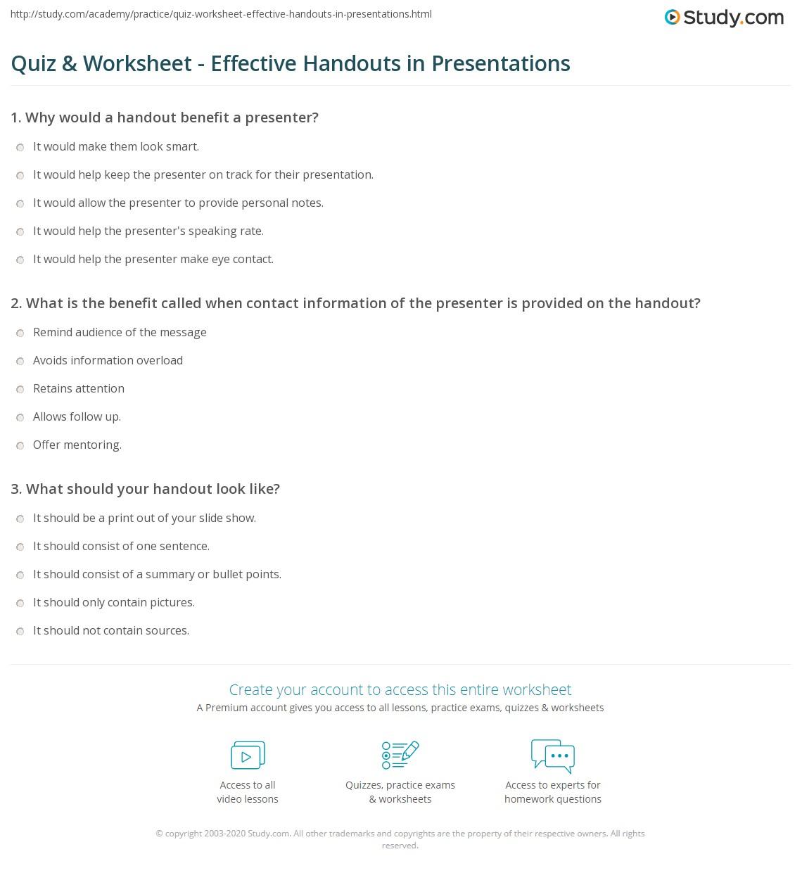 Quiz Amp Worksheet Effective Handouts In Presentations