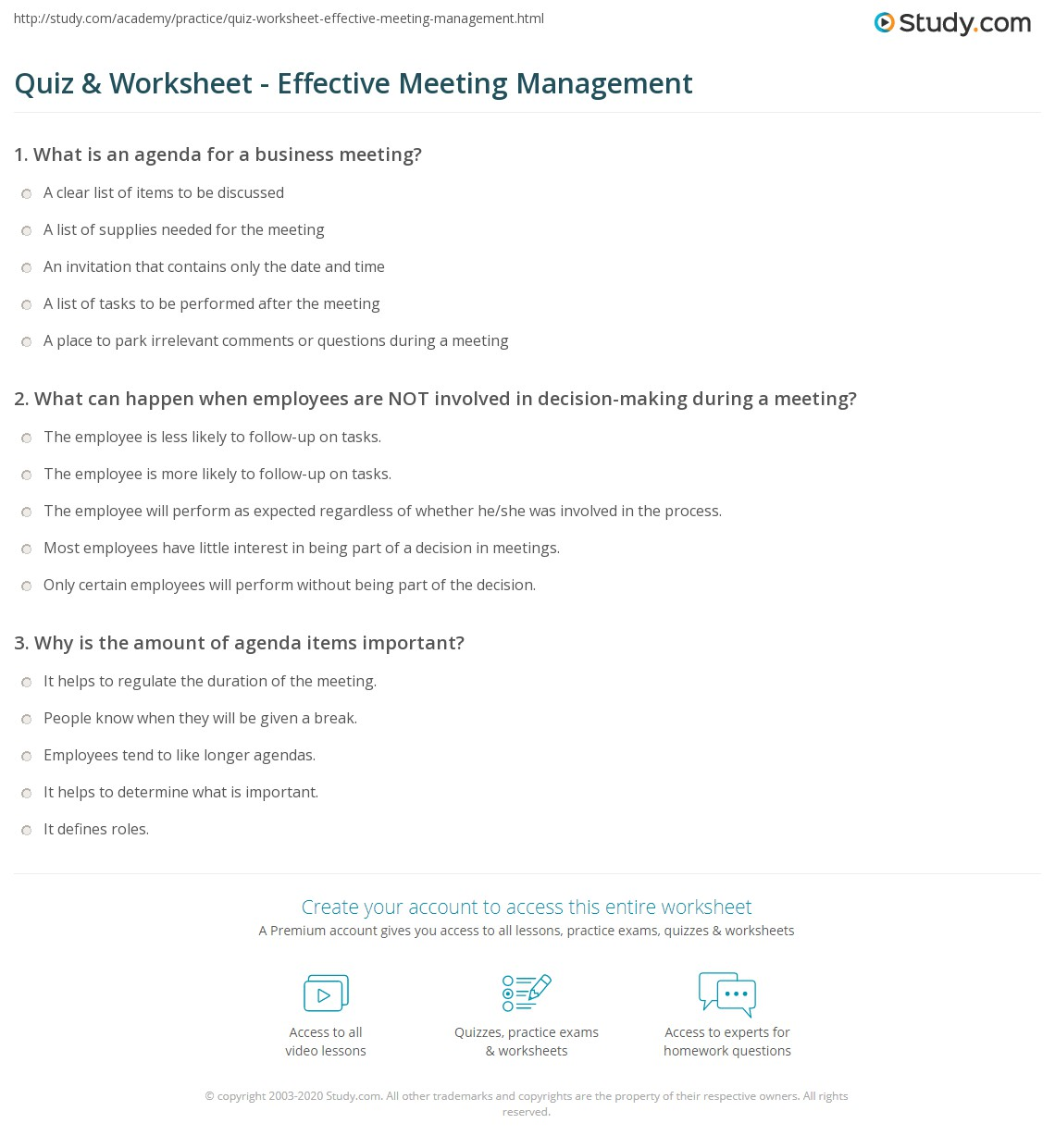 Quiz worksheet effective meeting management study print elements of effective meeting management worksheet stopboris Image collections