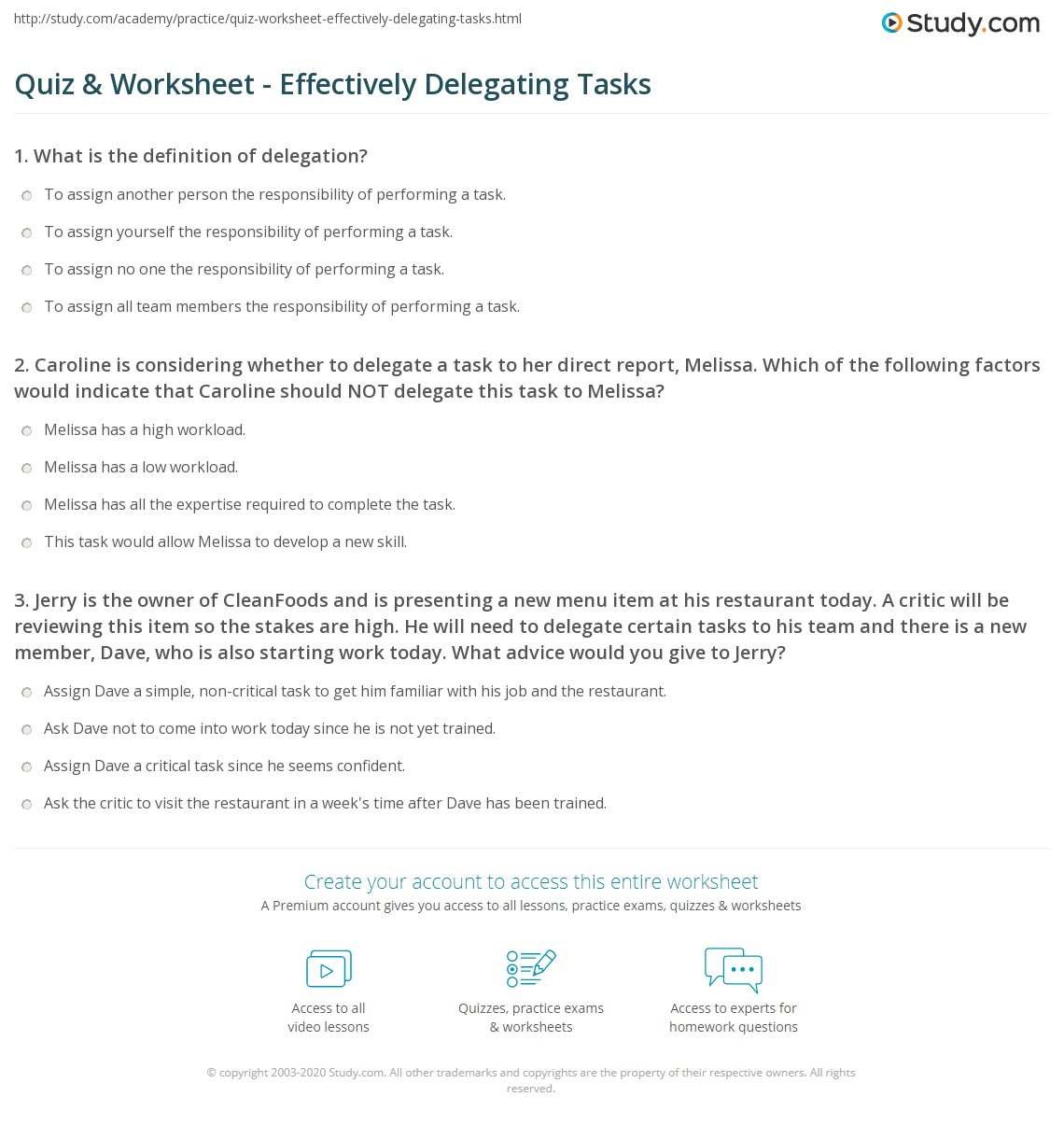 Quiz Worksheet Effectively Delegating Tasks Study Com