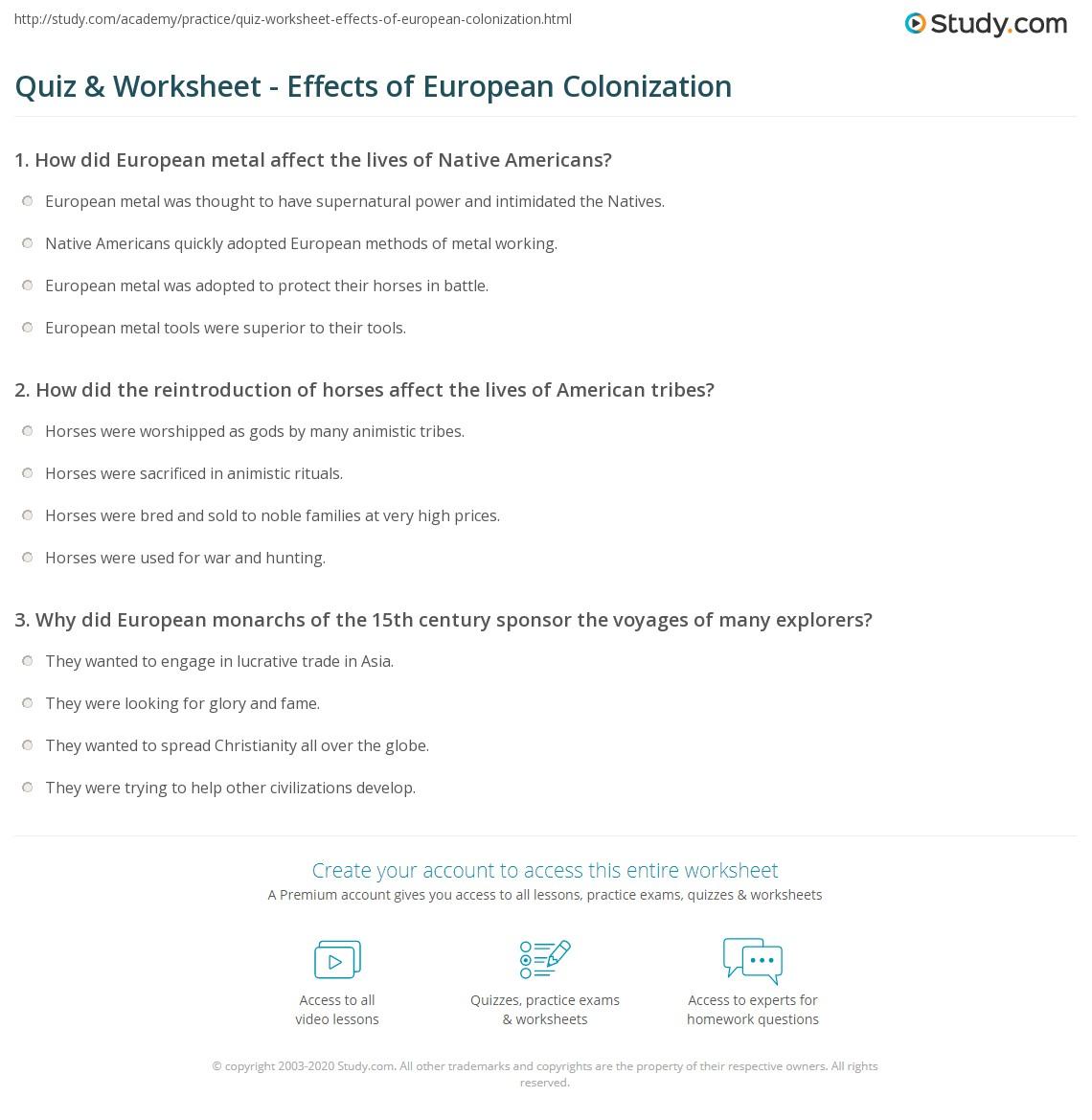 Quiz & Worksheet - Effects of European Colonization ...