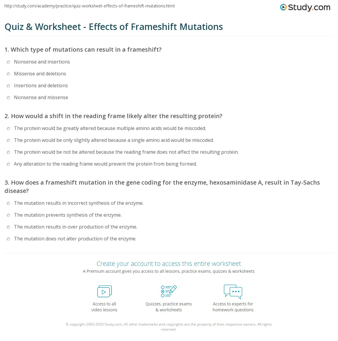 Quiz & Worksheet - Effects of Frameshift Mutations | Study.com