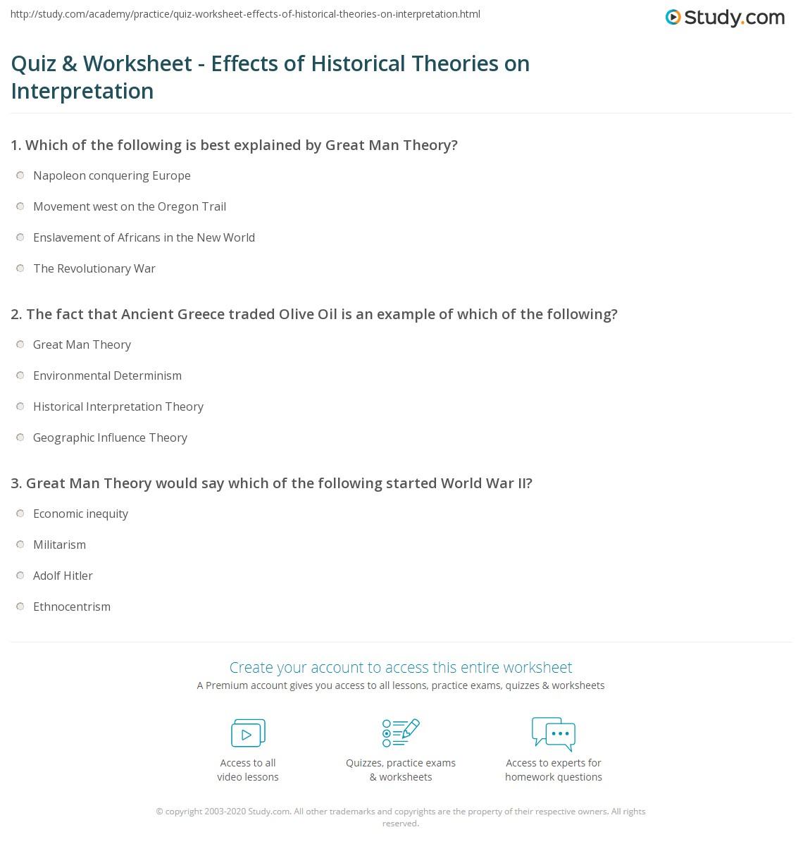 Quiz Worksheet Effects Of Historical Theories On Interpretation