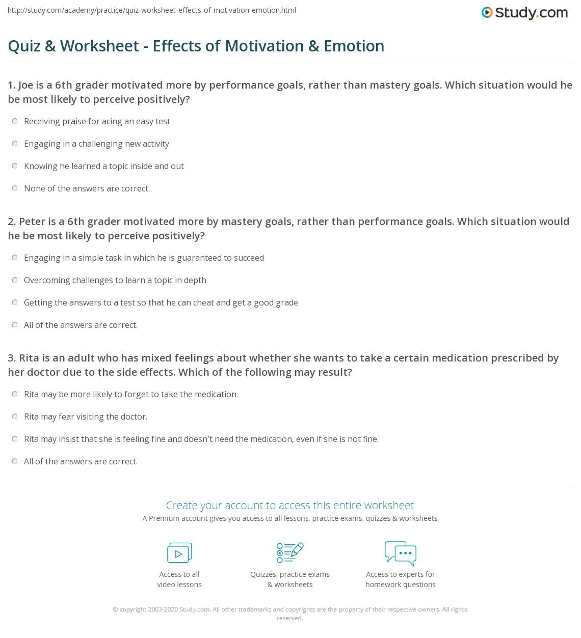 Quiz & Worksheet - Effects of Motivation & Emotion  Study.com