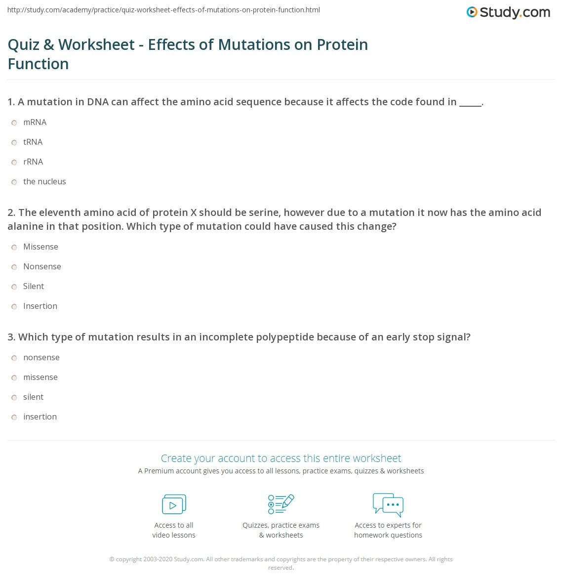 Worksheets Mutations Worksheet quiz worksheet effects of mutations on protein function study com the eleventh amino acid x should be serine however due to a mutation it now has alanine in that posi