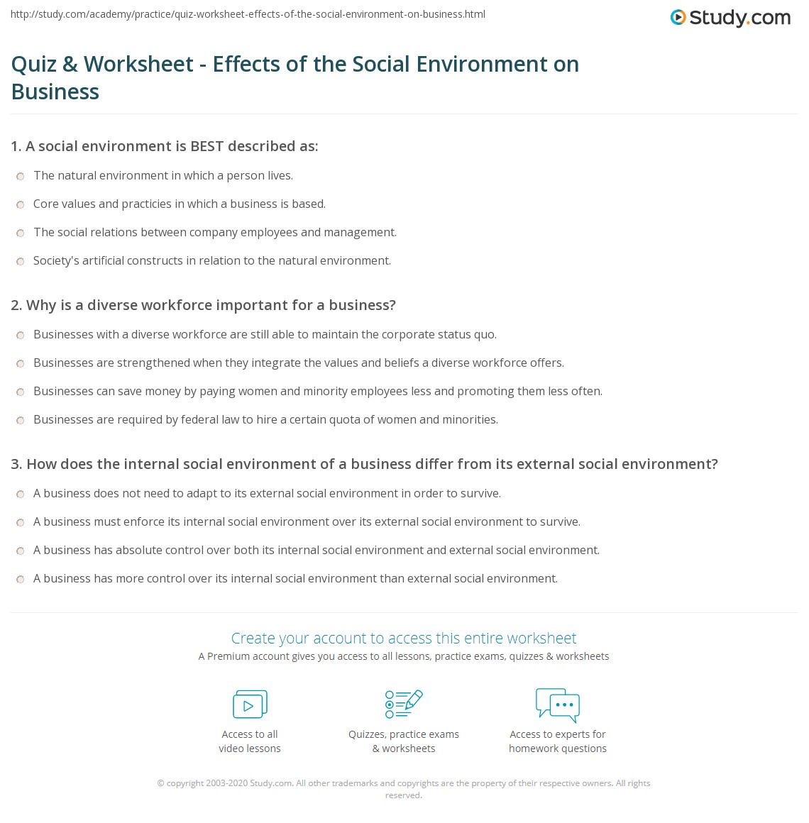 Quiz Worksheet Effects Of The Social Environment On Business