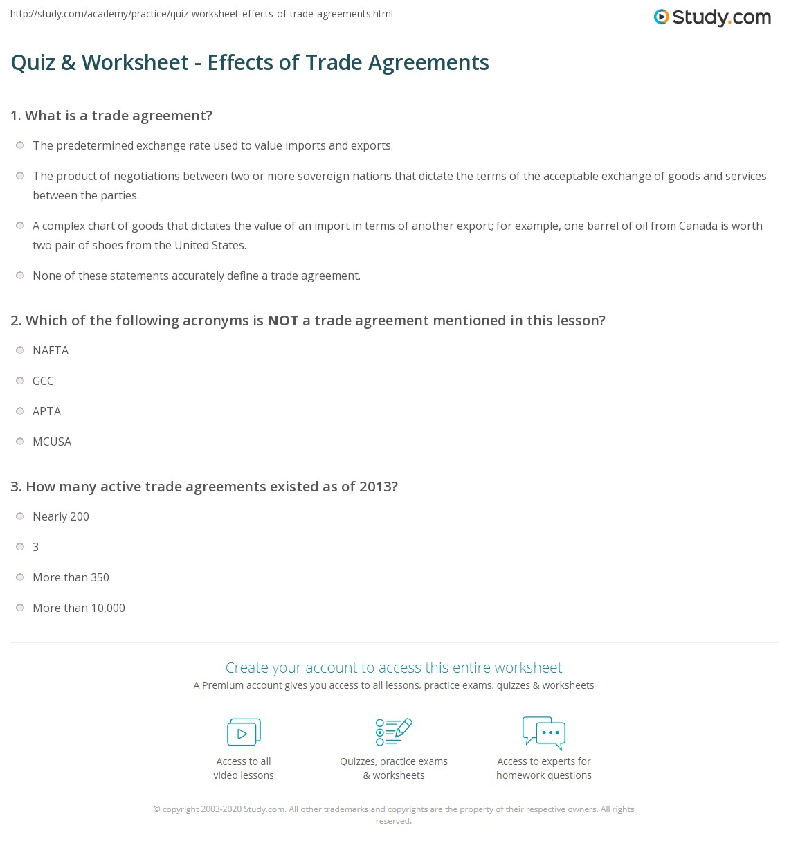 Quiz Worksheet Effects Of Trade Agreements Study