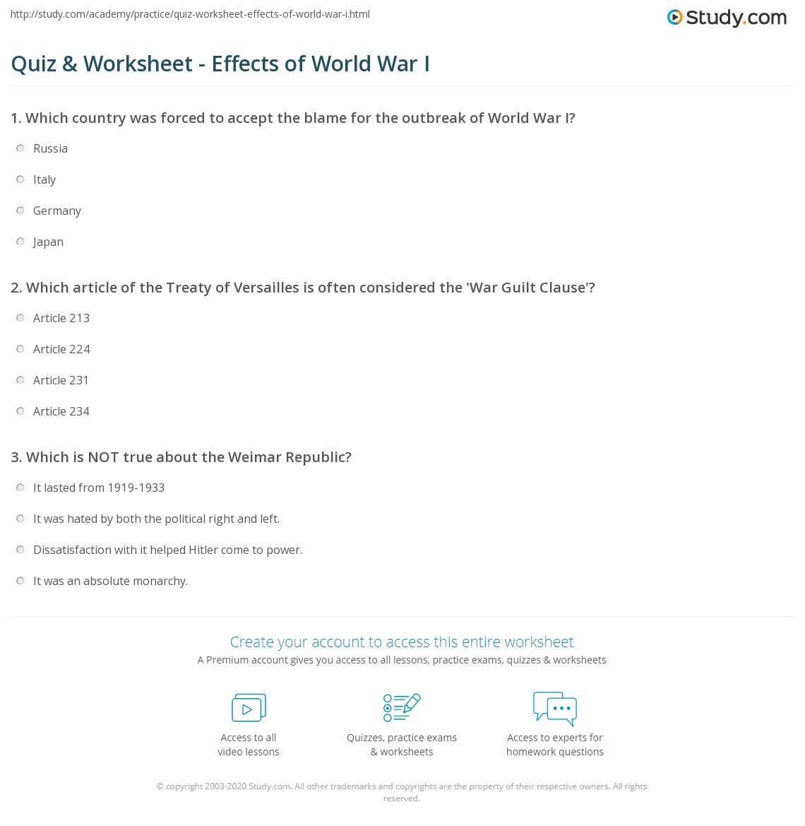 Quiz & Worksheet - Effects of World War I | Study.com