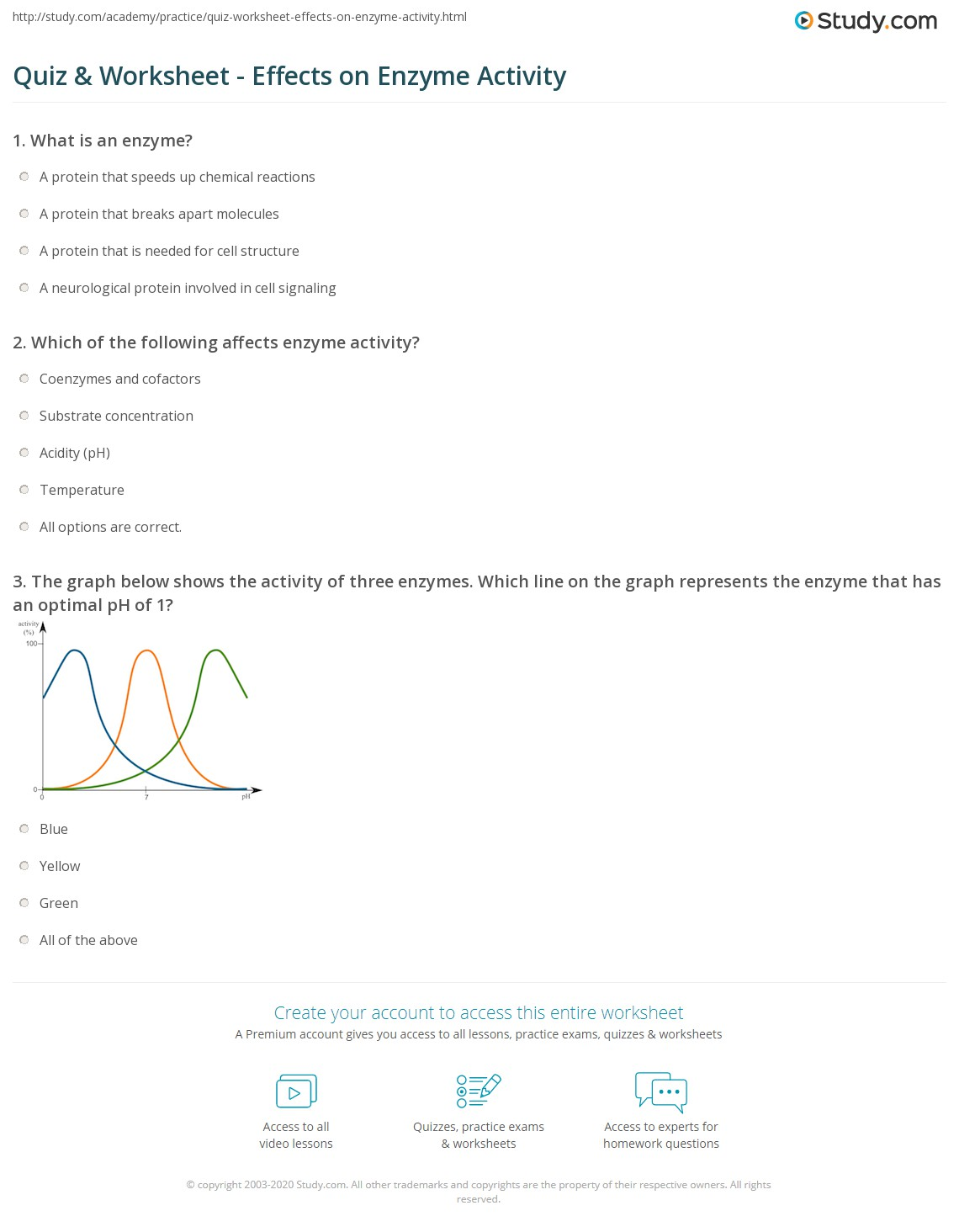 Quiz Worksheet Effects On Enzyme Activity Study Com