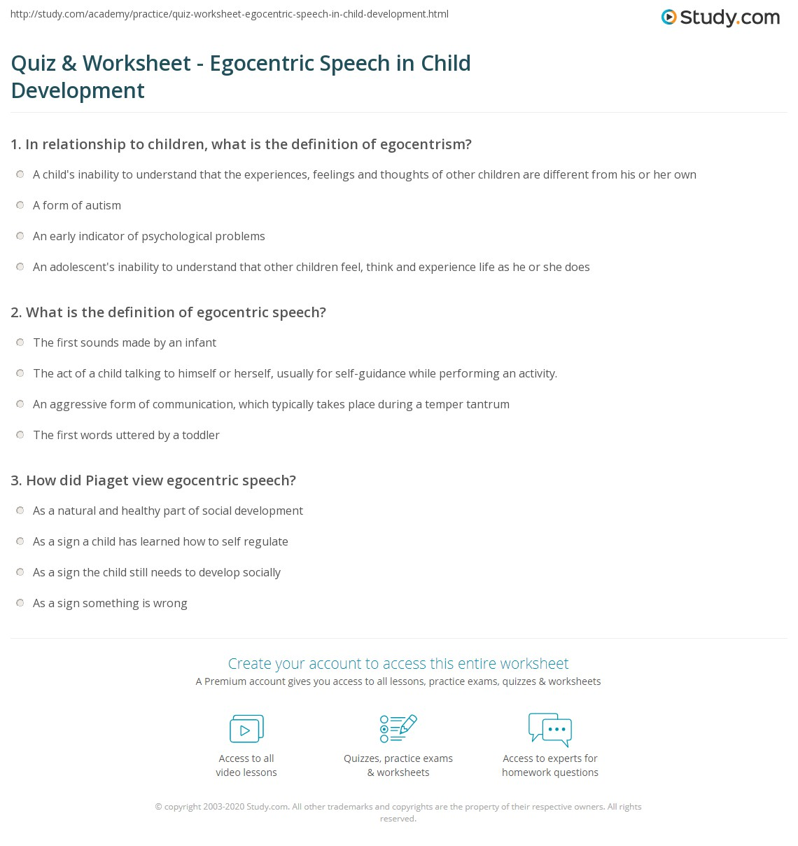 Quiz Worksheet Egocentric Speech In Child Development Study