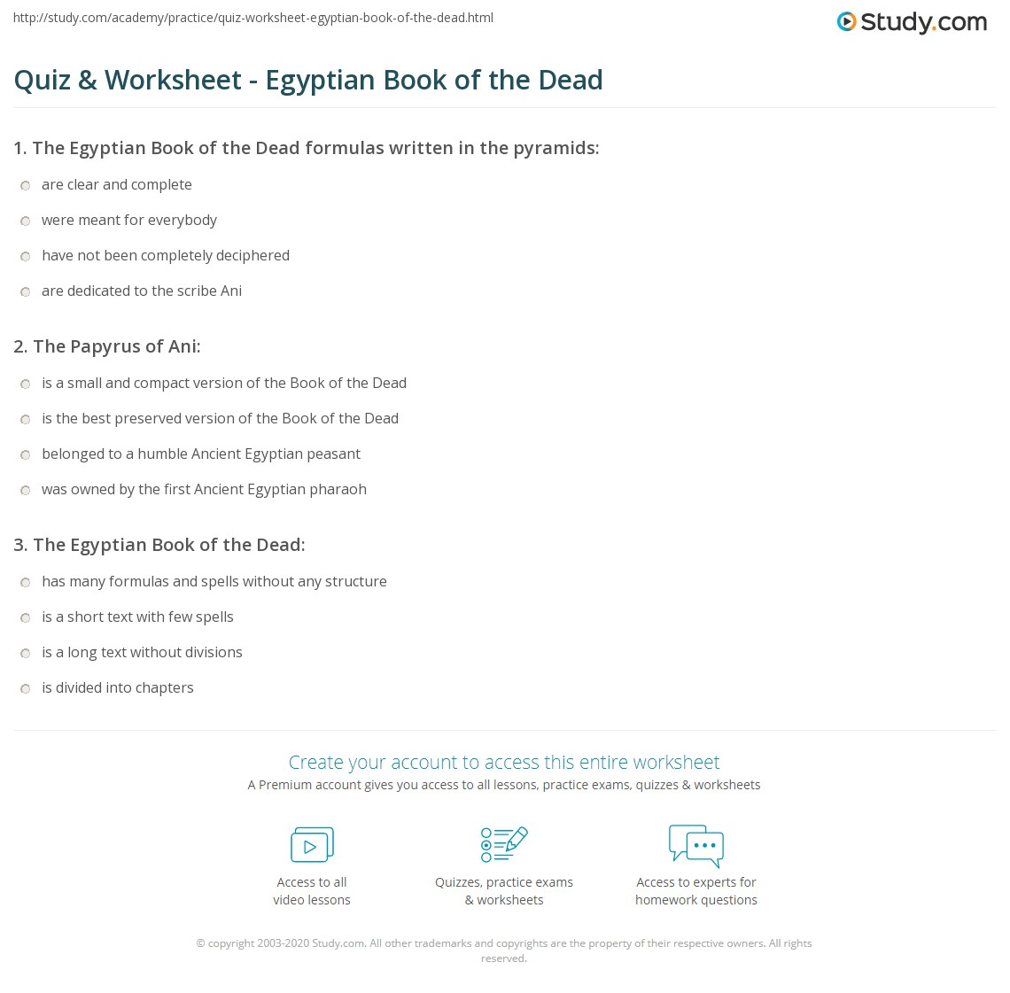 Quiz & Worksheet - Egyptian Book of the Dead | Study com