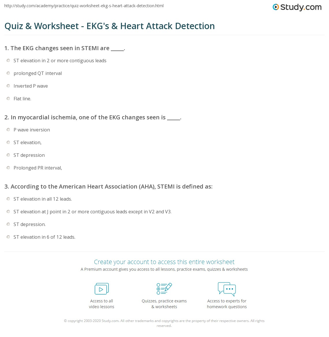 Quiz Worksheet Ekgs Heart Attack Detection Study
