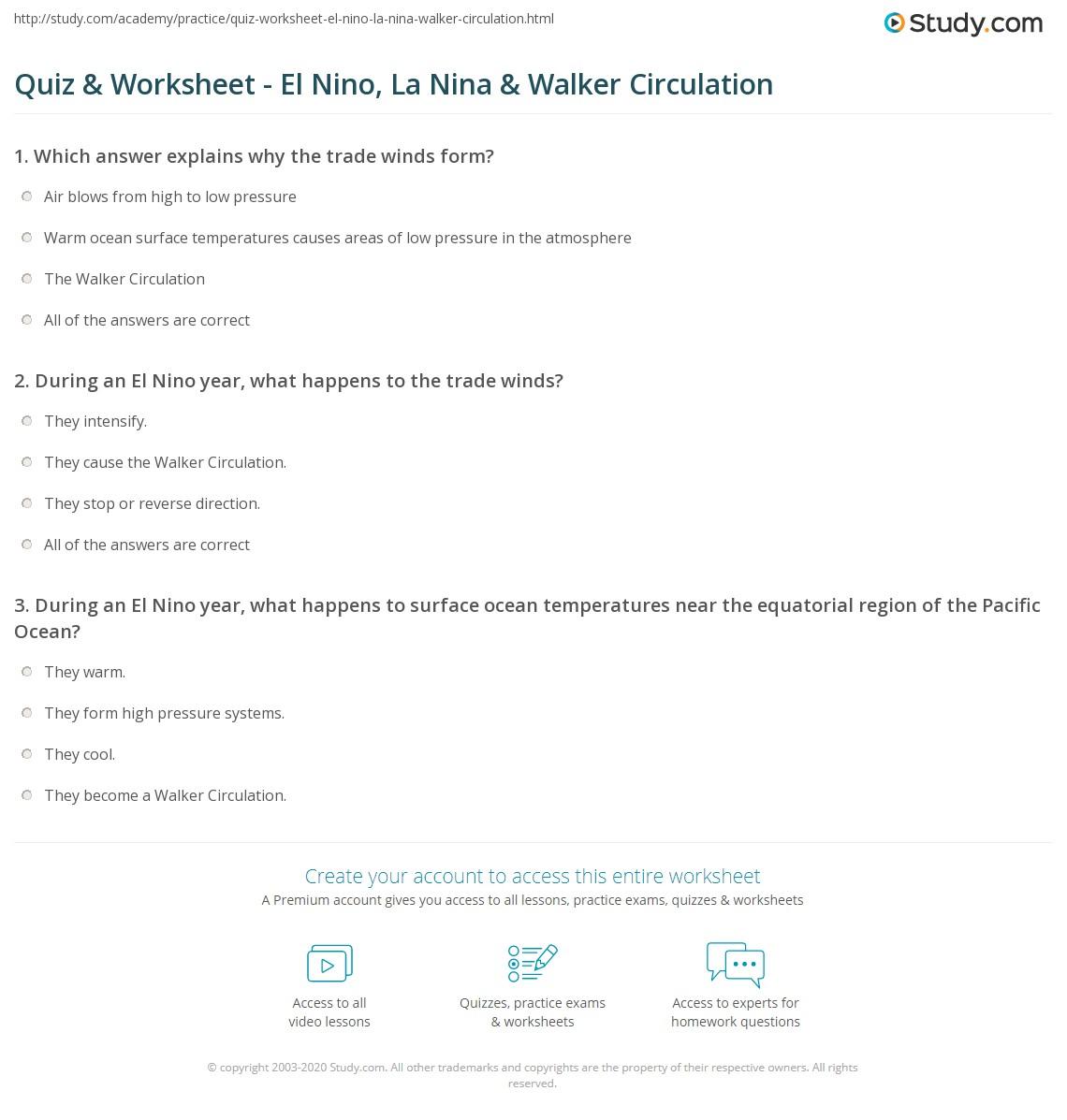 worksheet El Nino Worksheet quiz worksheet el nino la nina walker circulation study com print worksheet