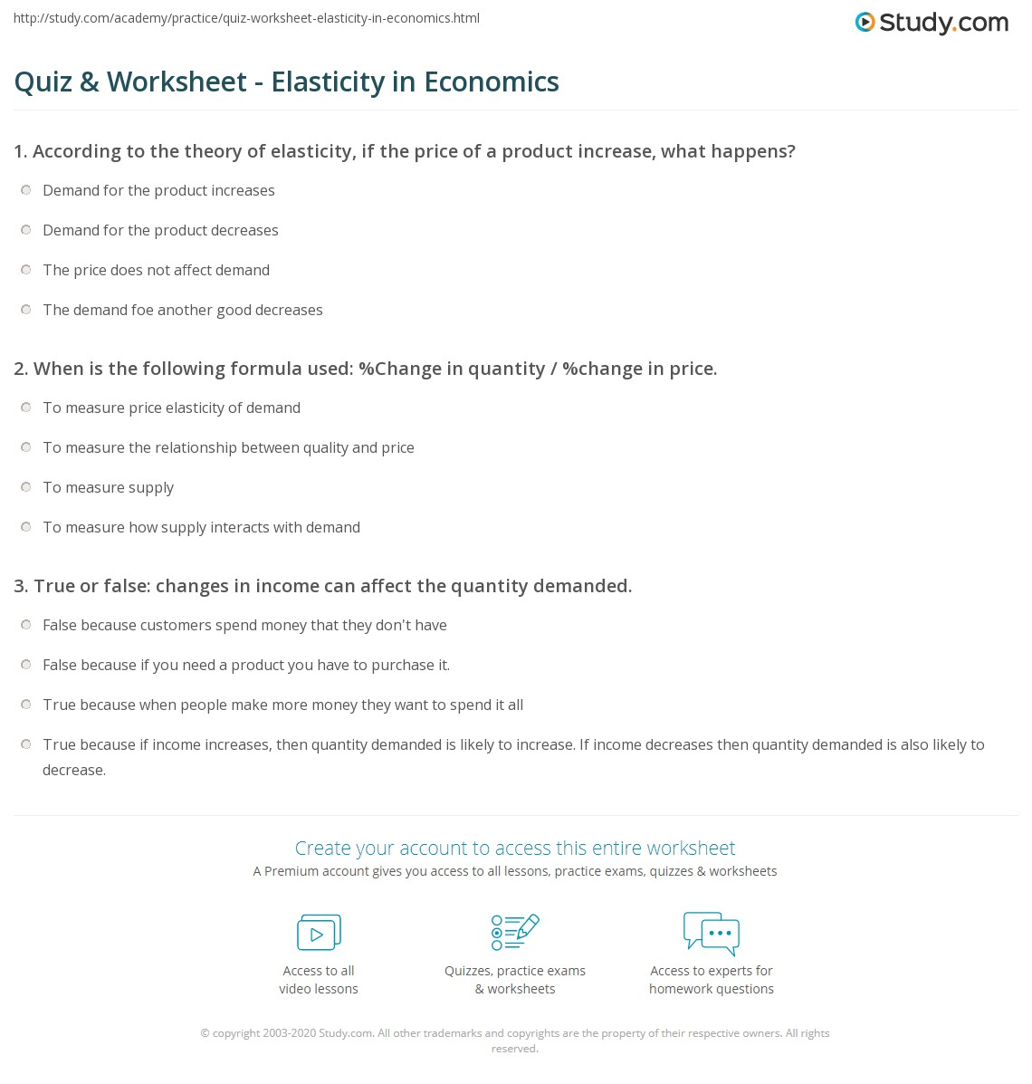 quiz worksheet elasticity in economics. Black Bedroom Furniture Sets. Home Design Ideas