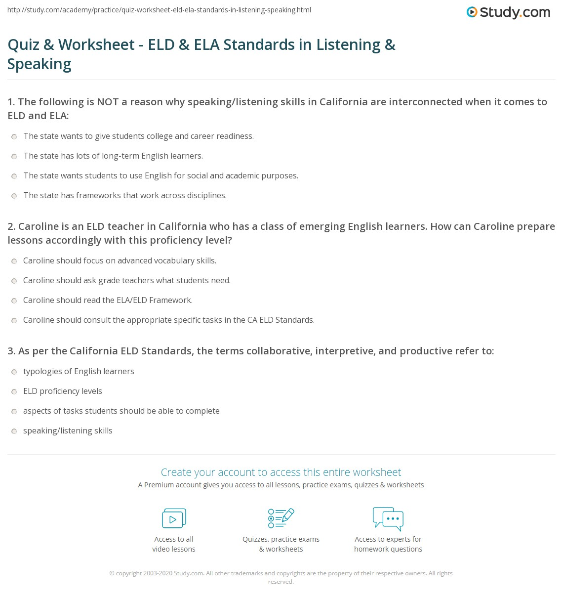 Quiz & Worksheet - ELD & ELA Standards in Listening