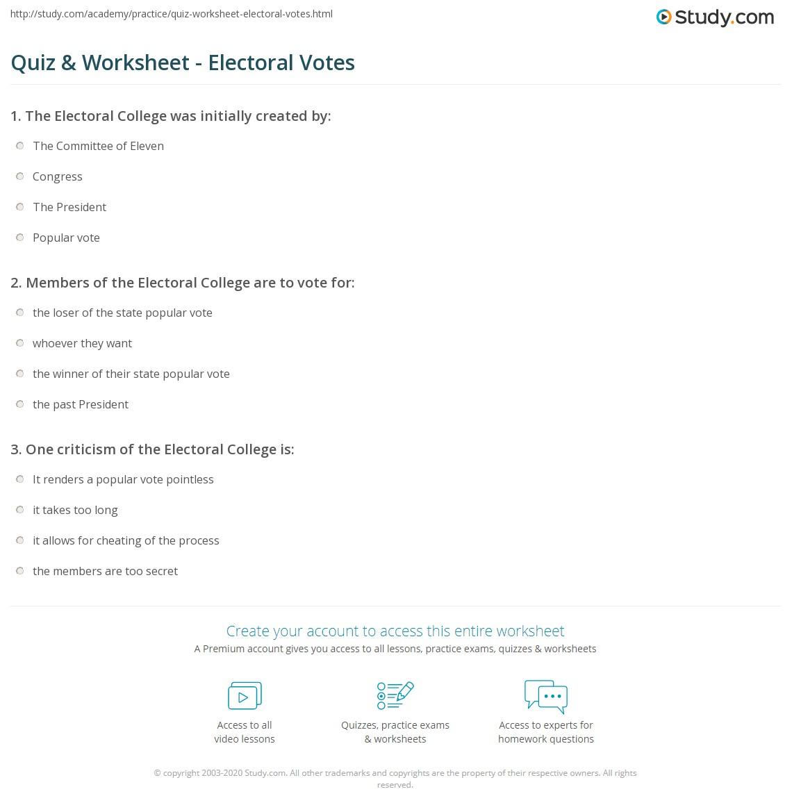 quiz & worksheet - electoral votes | study