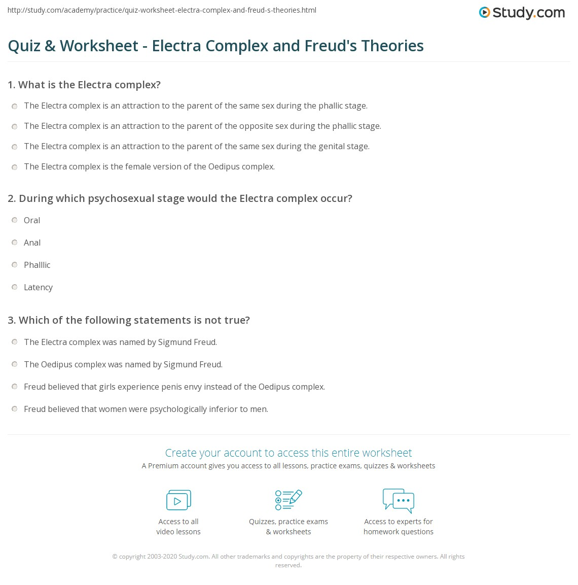 Freuds theory of psychosexual development quiz
