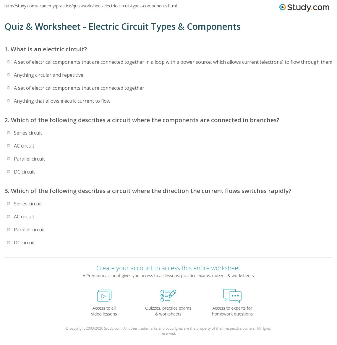 Quiz & Worksheet - Electric Circuit Types & Components | Study.com