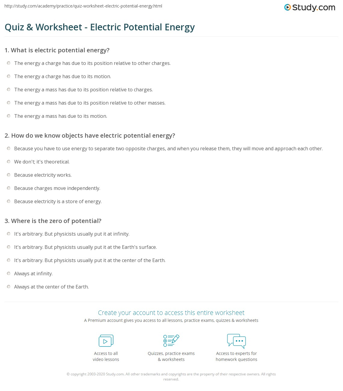 Quiz & Worksheet - Electric Potential Energy | Study.com