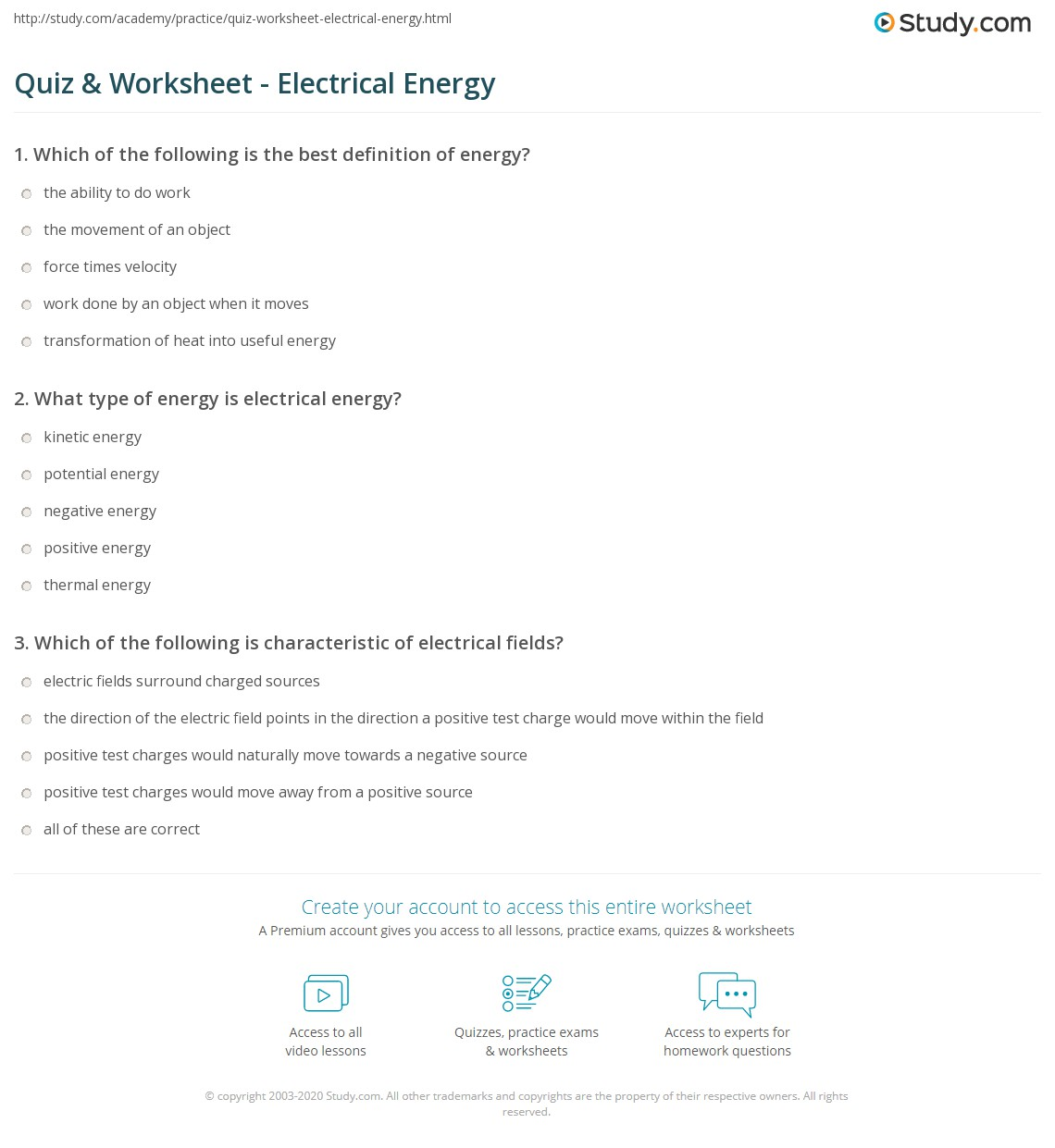 quiz & worksheet - electrical energy | study