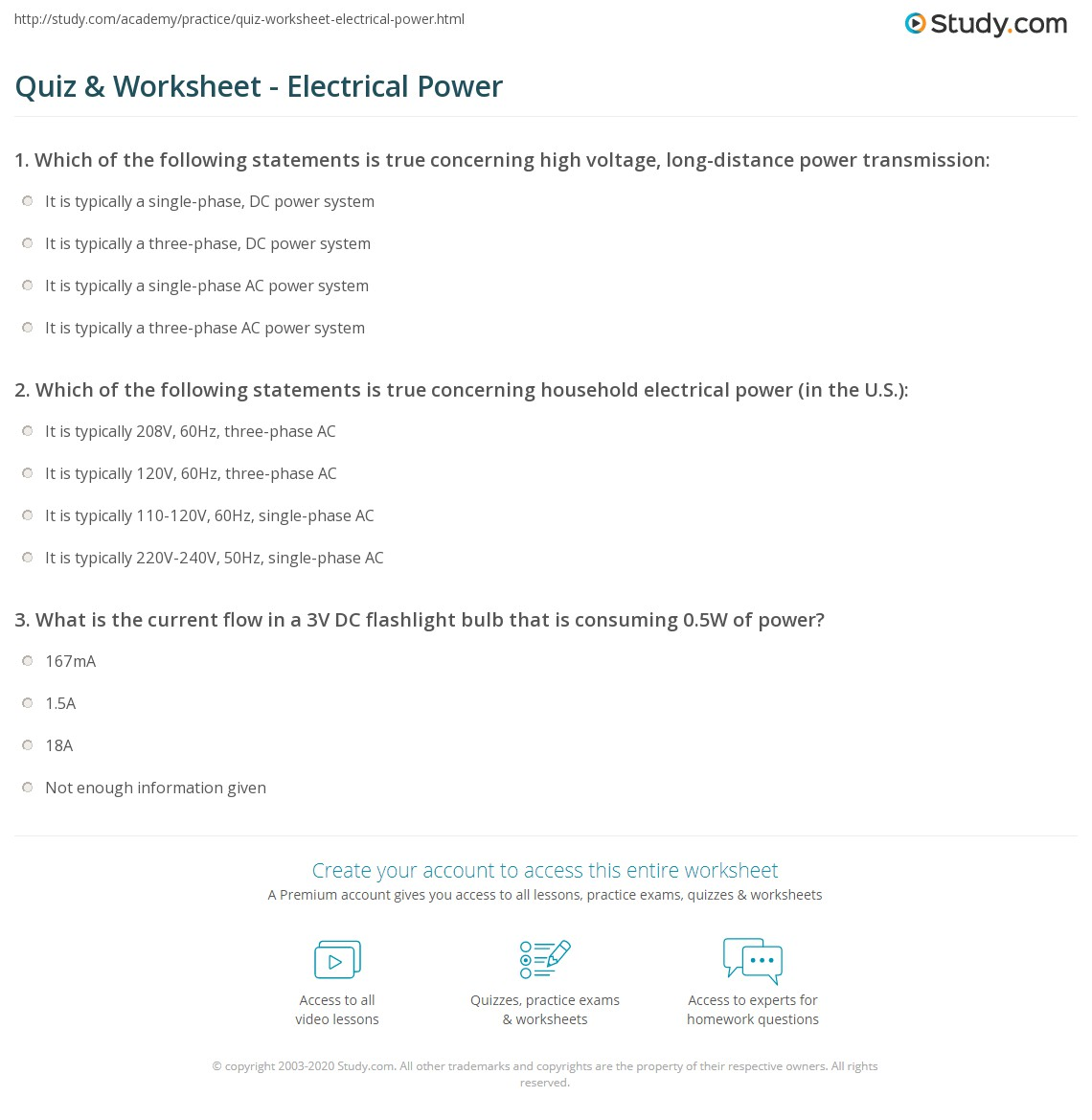 Quiz Worksheet Electrical Power Study